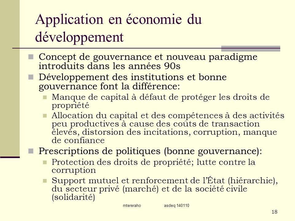 mtereraho asdeq 140110 18 Application en économie du développement Concept de gouvernance et nouveau paradigme introduits dans les années 90s Développ