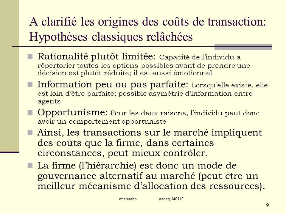 mtereraho asdeq 140110 9 A clarifié les origines des coûts de transaction: Hypothèses classiques relâchées Rationalité plutôt limitée: Capacité de lin