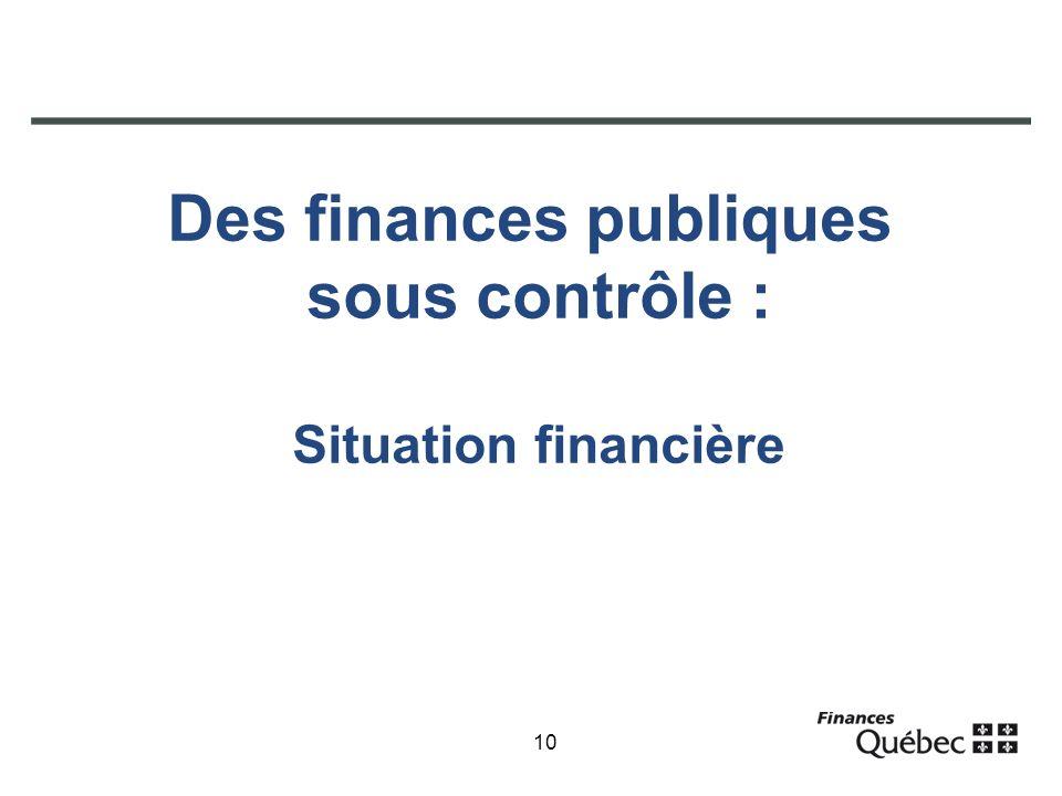 10 Des finances publiques sous contrôle : Situation financière