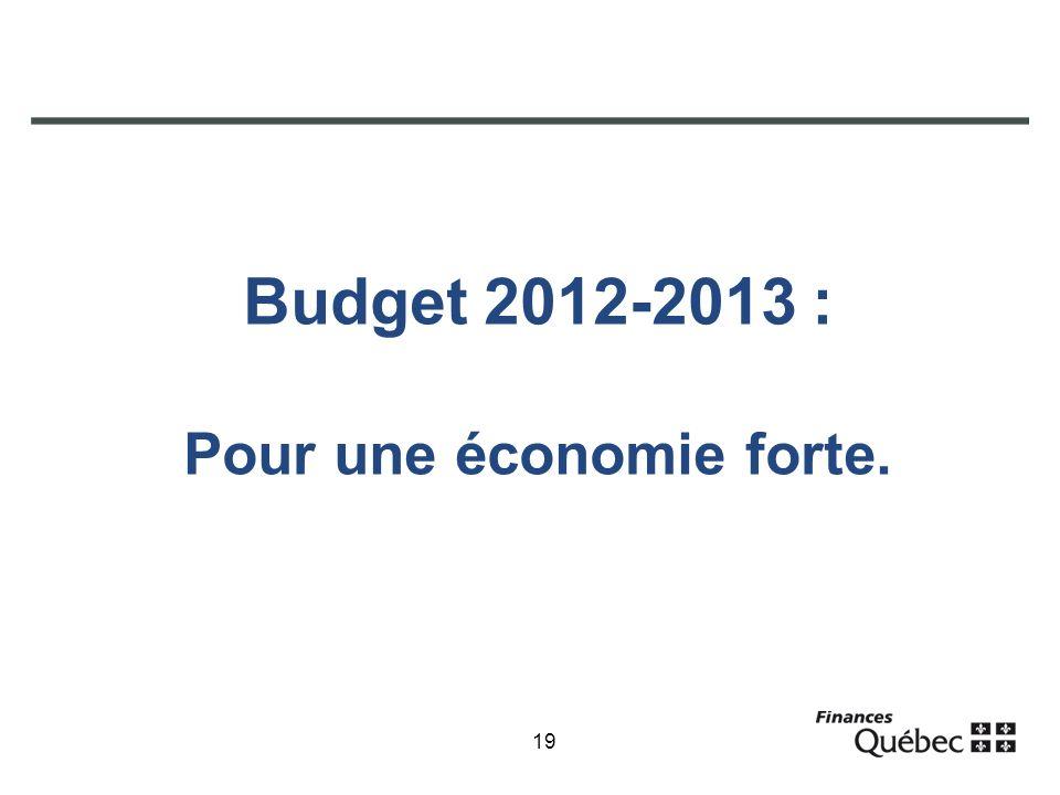 19 Budget 2012-2013 : Pour une économie forte.