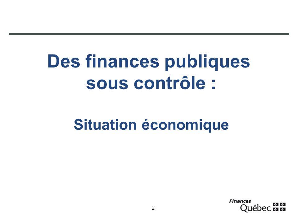 2 Des finances publiques sous contrôle : Situation économique