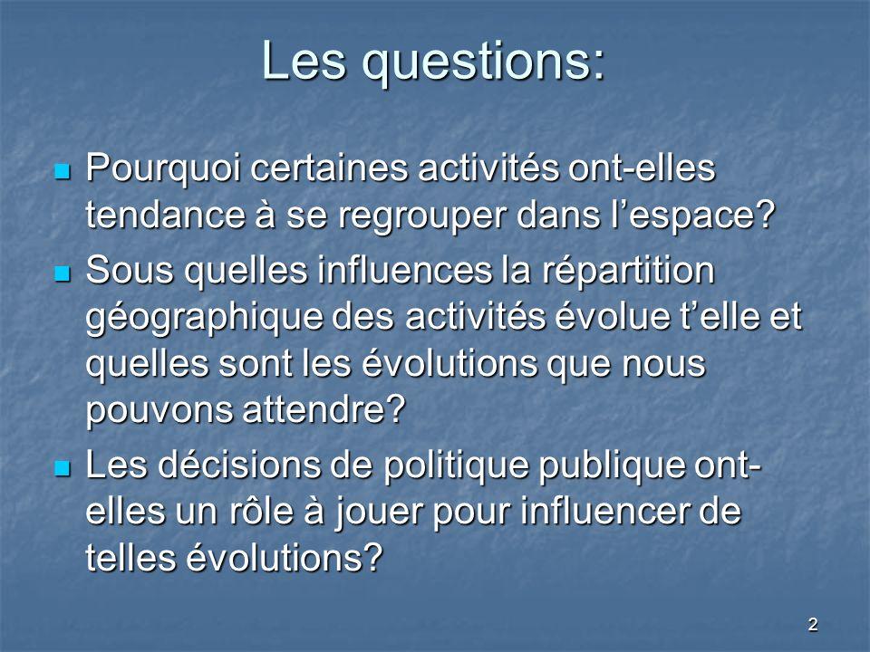 2 Les questions: Pourquoi certaines activités ont-elles tendance à se regrouper dans lespace.