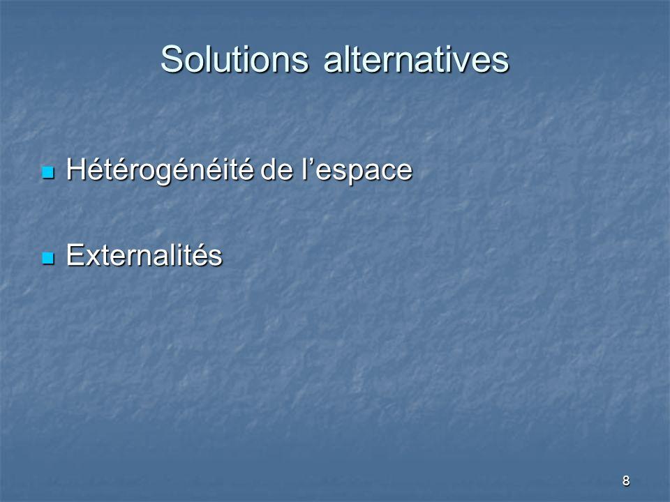 8 Solutions alternatives Hétérogénéité de lespace Hétérogénéité de lespace Externalités Externalités