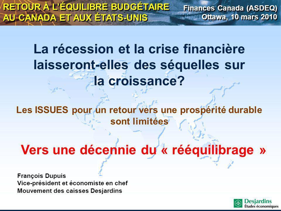 La récession et la crise financière laisseront-elles des séquelles sur la croissance.