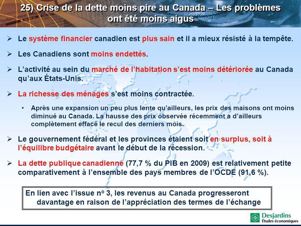 Le système financier canadien est plus sain et il a mieux résisté à la tempête.