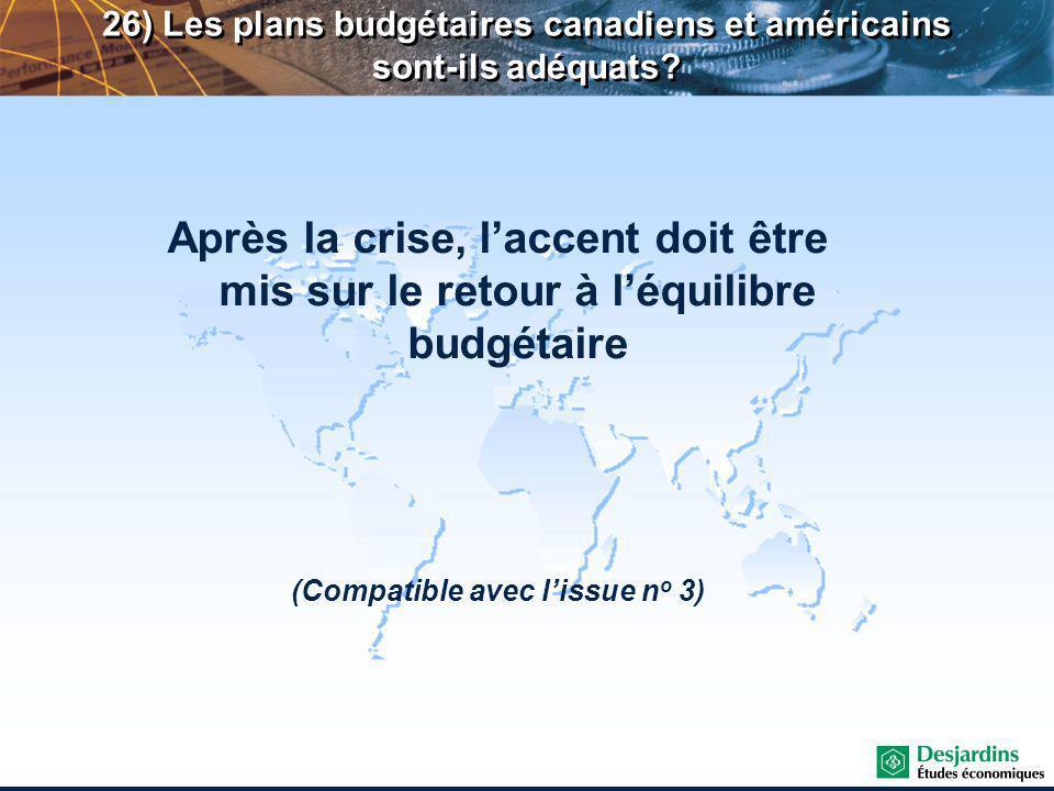 Après la crise, laccent doit être mis sur le retour à léquilibre budgétaire (Compatible avec lissue n o 3) 26) Les plans budgétaires canadiens et américains sont-ils adéquats