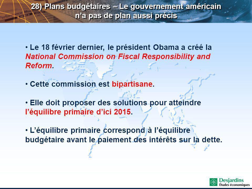 28) Plans budgétaires – Le gouvernement américain na pas de plan aussi précis Le 18 février dernier, le président Obama a créé la National Commission on Fiscal Responsibility and Reform.