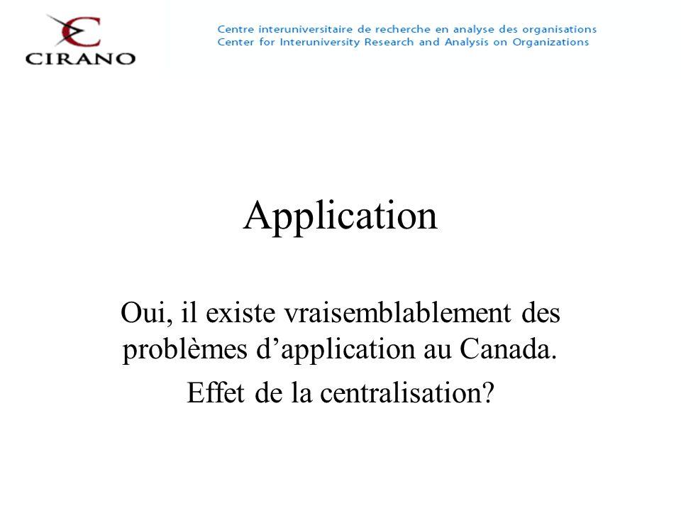 Application Oui, il existe vraisemblablement des problèmes dapplication au Canada. Effet de la centralisation?