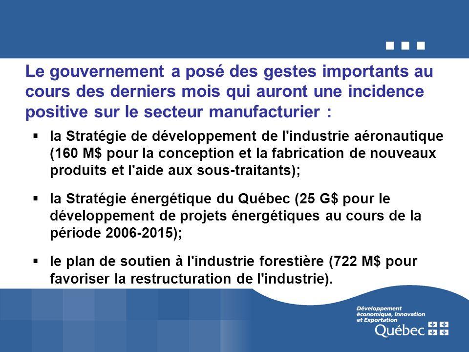 Le gouvernement a posé des gestes importants au cours des derniers mois qui auront une incidence positive sur le secteur manufacturier : la Stratégie