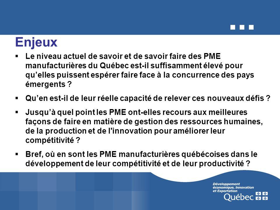 Enjeux Le niveau actuel de savoir et de savoir faire des PME manufacturières du Québec est-il suffisamment élevé pour quelles puissent espérer faire f