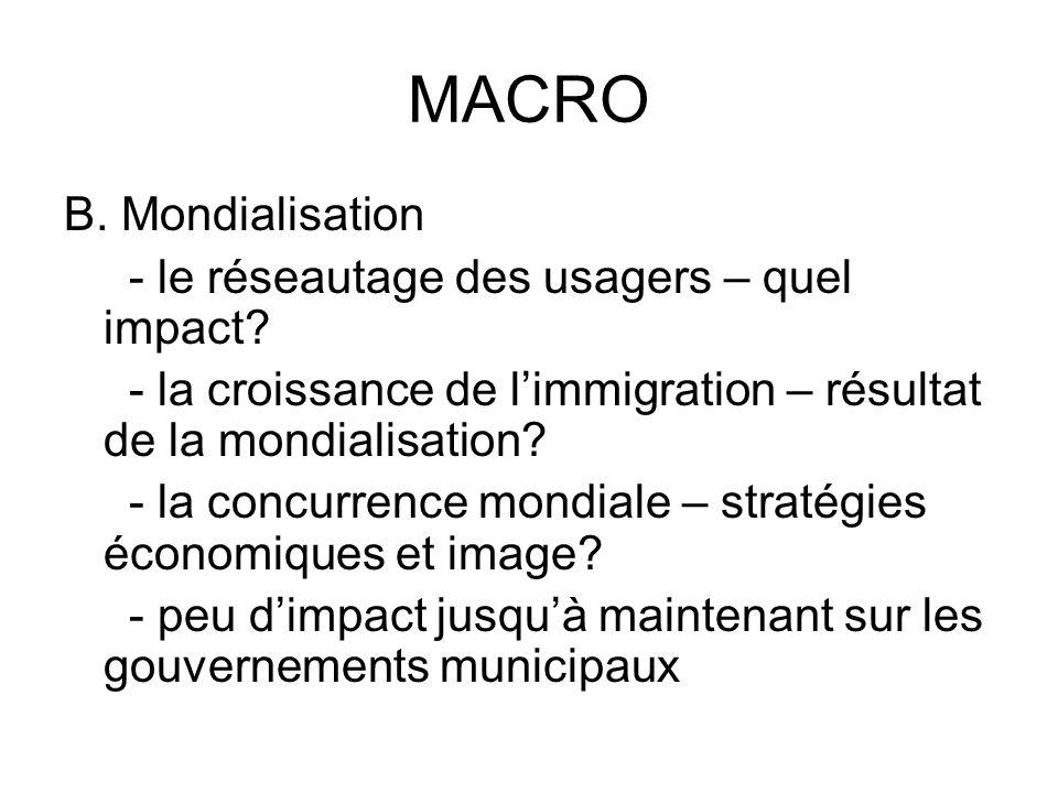 MACRO B. Mondialisation - le réseautage des usagers – quel impact.