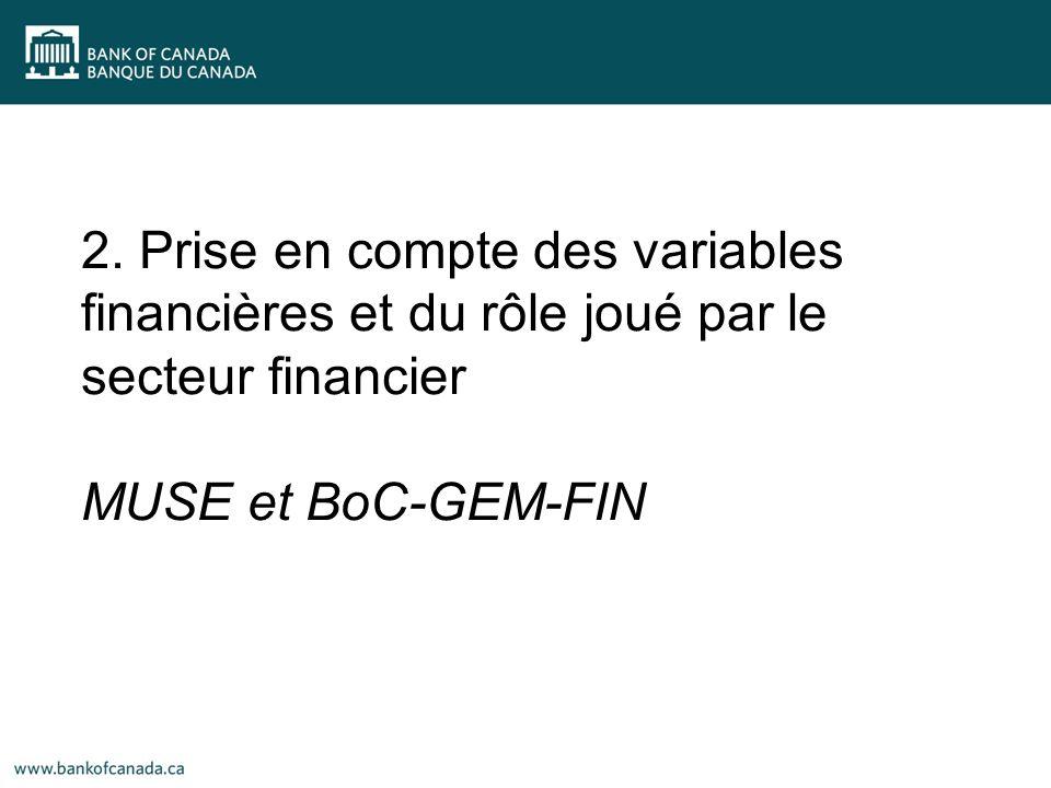 2. Prise en compte des variables financières et du rôle joué par le secteur financier MUSE et BoC-GEM-FIN