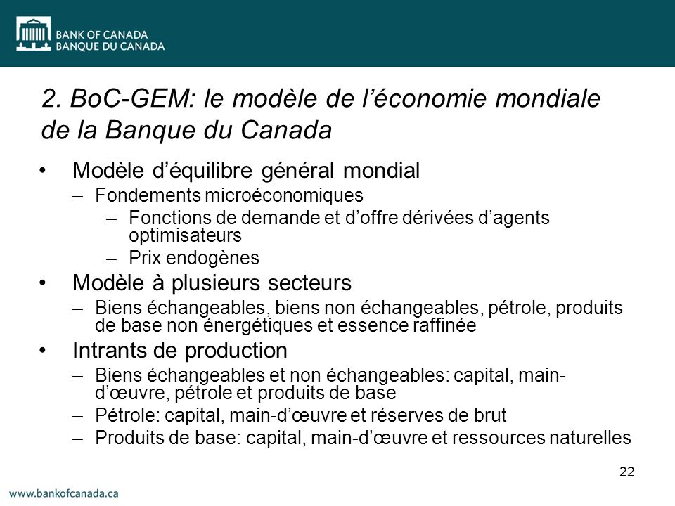 2. BoC-GEM: le modèle de léconomie mondiale de la Banque du Canada 22 Modèle déquilibre général mondial –Fondements microéconomiques –Fonctions de dem