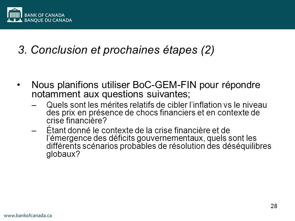3. Conclusion et prochaines étapes (2) 28 Nous planifions utiliser BoC-GEM-FIN pour répondre notamment aux questions suivantes; –Quels sont les mérite