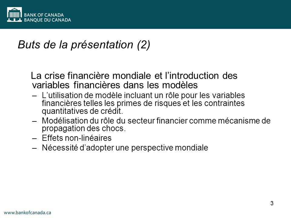 Buts de la présentation (2) La crise financière mondiale et lintroduction des variables financières dans les modèles –Lutilisation de modèle incluant un rôle pour les variables financières telles les primes de risques et les contraintes quantitatives de crédit.