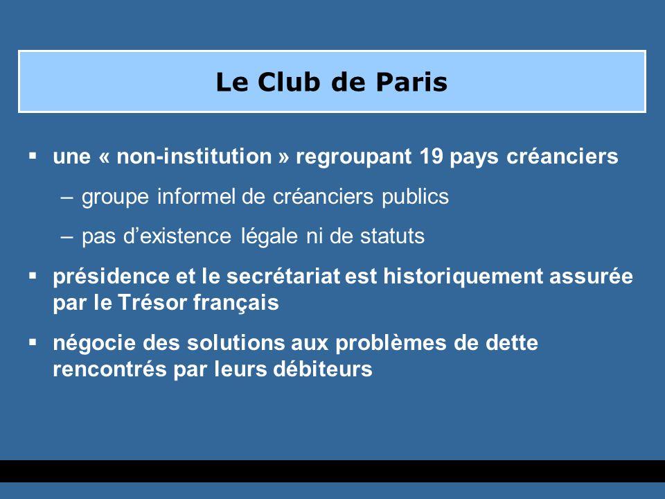 Traitements de dette en Club de Paris Récemment, le Club de Paris travaille dans deux cadres généraux: -Lapproche dEvian -Linitiative pour Pays Pauvres Très Endettés (PPTE)