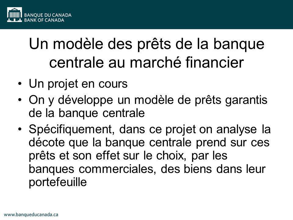 Un modèle des prêts de la banque centrale au marché financier Un projet en cours On y développe un modèle de prêts garantis de la banque centrale Spéc