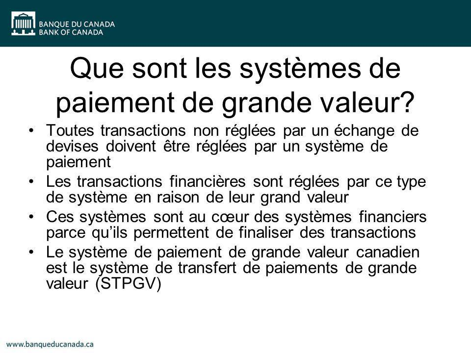 Que sont les systèmes de paiement de grande valeur? Toutes transactions non réglées par un échange de devises doivent être réglées par un système de p