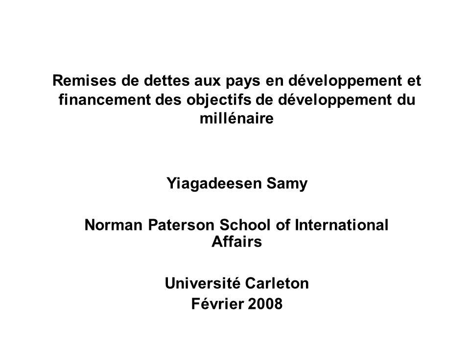 Remises de dettes aux pays en développement et financement des objectifs de développement du millénaire Yiagadeesen Samy Norman Paterson School of Int