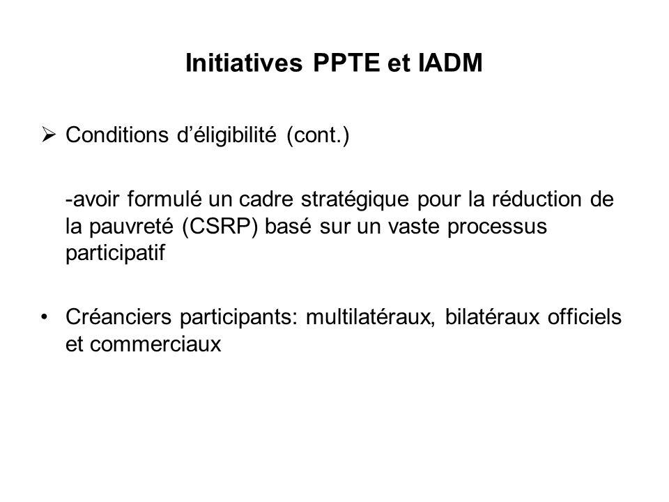 Initiatives PPTE et IADM Conditions déligibilité (cont.) -avoir formulé un cadre stratégique pour la réduction de la pauvreté (CSRP) basé sur un vaste