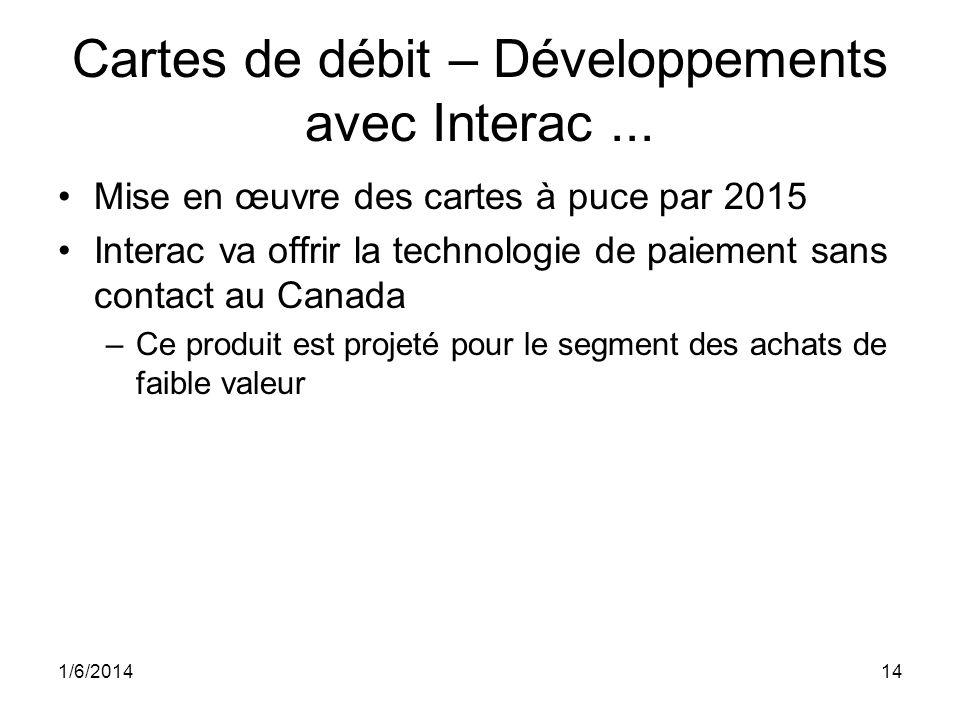 Cartes de débit – Développements avec Interac... Mise en œuvre des cartes à puce par 2015 Interac va offrir la technologie de paiement sans contact au