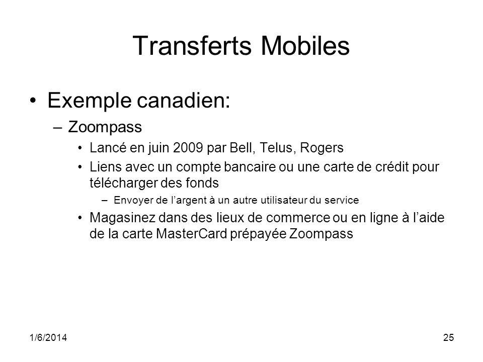 1/6/201425 Transferts Mobiles Exemple canadien: –Zoompass Lancé en juin 2009 par Bell, Telus, Rogers Liens avec un compte bancaire ou une carte de crédit pour télécharger des fonds –Envoyer de largent à un autre utilisateur du service Magasinez dans des lieux de commerce ou en ligne à laide de la carte MasterCard prépayée Zoompass