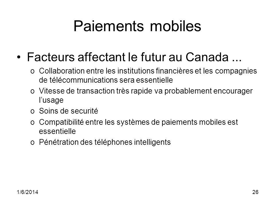 1/6/201426 Paiements mobiles Facteurs affectant le futur au Canada... oCollaboration entre les institutions financières et les compagnies de télécommu