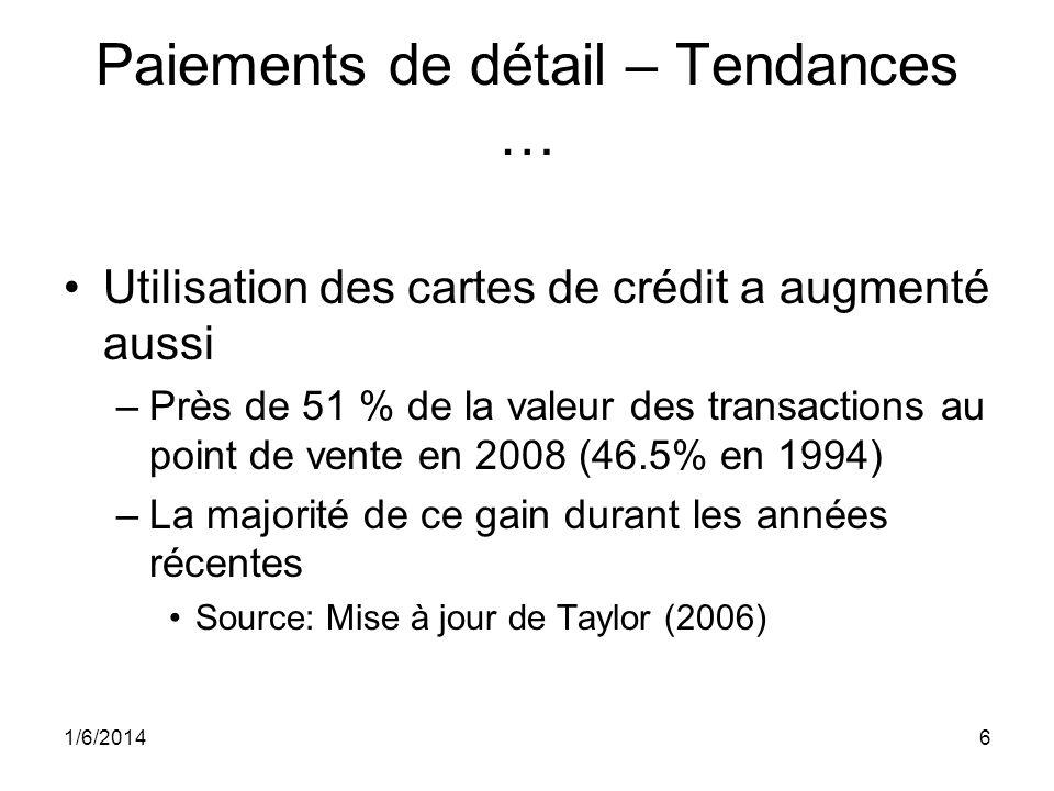 6 Paiements de détail – Tendances … Utilisation des cartes de crédit a augmenté aussi –Près de 51 % de la valeur des transactions au point de vente en