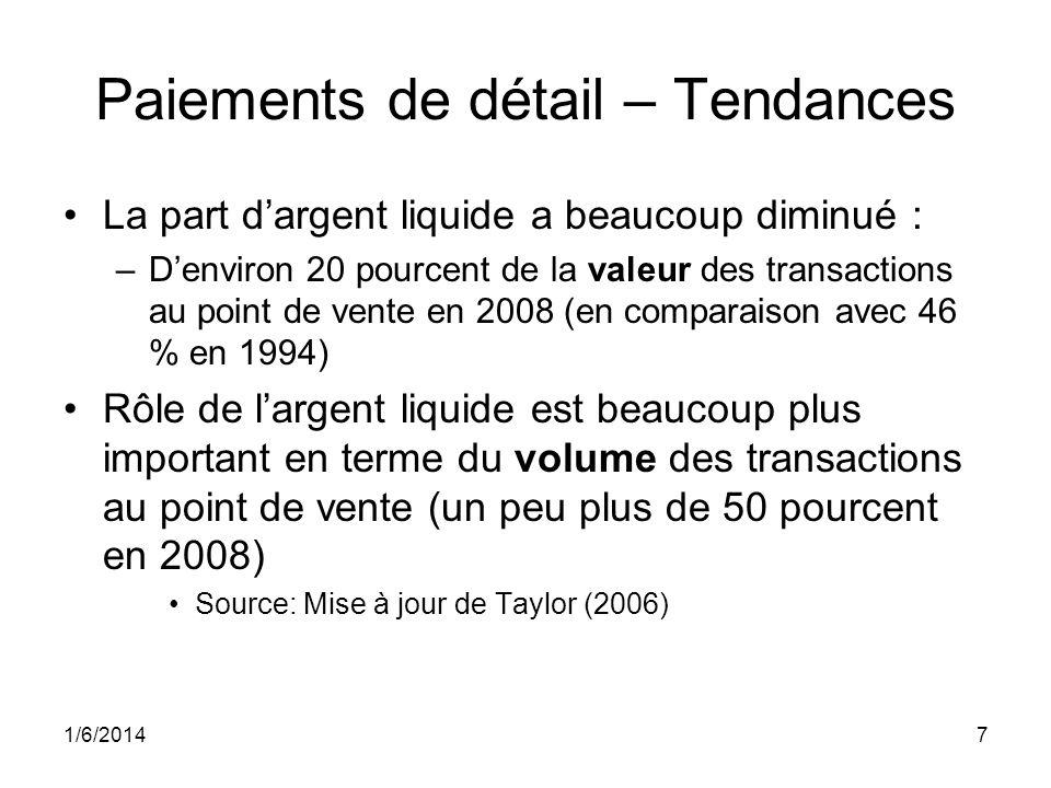 1/6/20147 Paiements de détail – Tendances La part dargent liquide a beaucoup diminué : –Denviron 20 pourcent de la valeur des transactions au point de