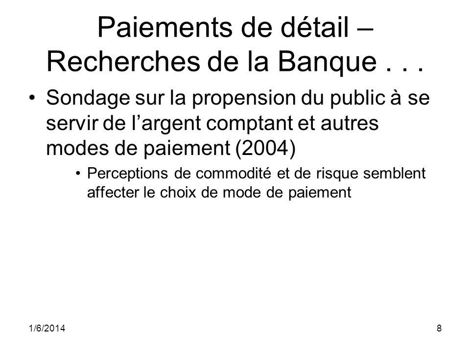 Paiements de détail – Recherches de la Banque... Sondage sur la propension du public à se servir de largent comptant et autres modes de paiement (2004
