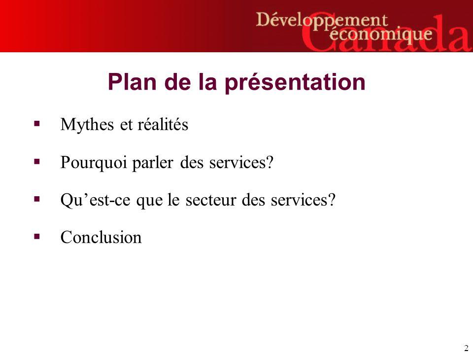 2 Plan de la présentation Mythes et réalités Pourquoi parler des services.
