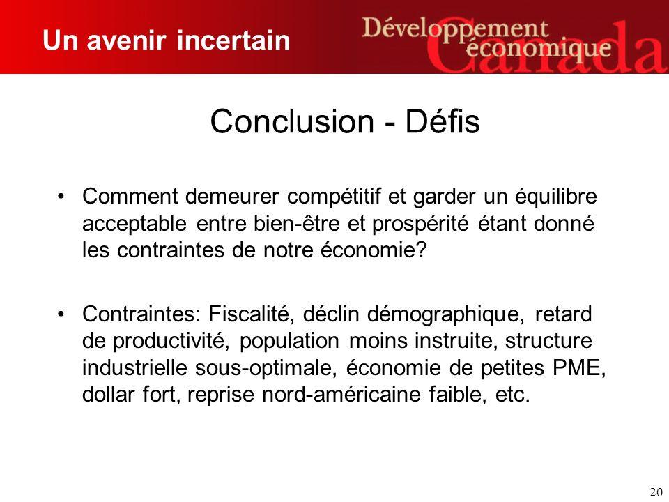 20 Conclusion - Défis Comment demeurer compétitif et garder un équilibre acceptable entre bien-être et prospérité étant donné les contraintes de notre économie.