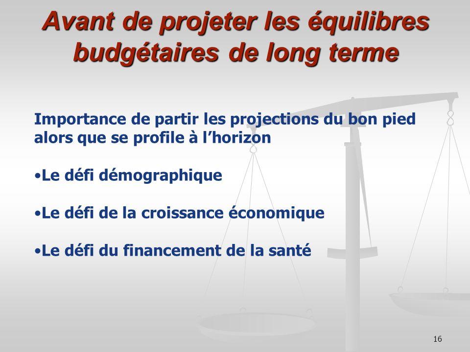 16 Avant de projeter les équilibres budgétaires de long terme Importance de partir les projections du bon pied alors que se profile à lhorizon Le défi