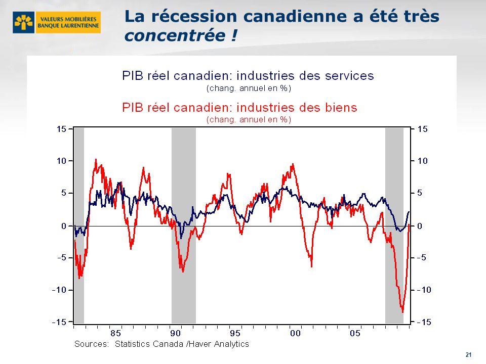 21 La récession canadienne a été très concentrée !