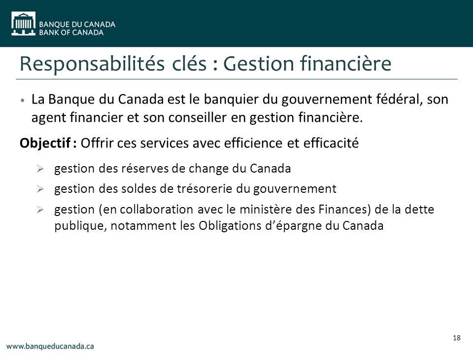 Responsabilités clés : Gestion financière La Banque du Canada est le banquier du gouvernement fédéral, son agent financier et son conseiller en gestion financière.