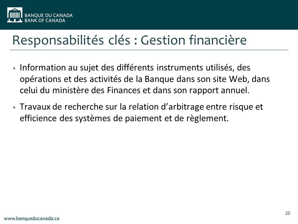 Information au sujet des différents instruments utilisés, des opérations et des activités de la Banque dans son site Web, dans celui du ministère des Finances et dans son rapport annuel.
