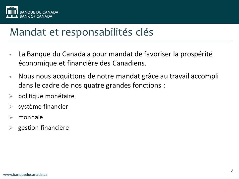 Mandat et responsabilités clés La Banque du Canada a pour mandat de favoriser la prospérité économique et financière des Canadiens.