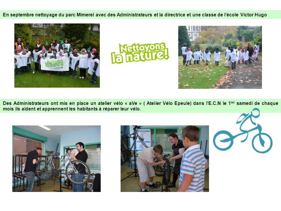 En septembre nettoyage du parc Mimerel avec des Administrateurs et la directrice et une classe de lécole Victor Hugo Des Administrateurs ont mis en pl