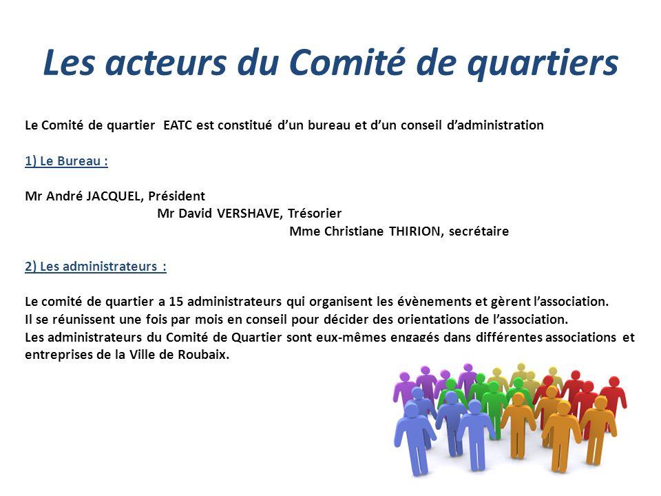 Les acteurs du Comité de quartiers Le Comité de quartier EATC est constitué dun bureau et dun conseil dadministration 1) Le Bureau : Mr André JACQUEL,