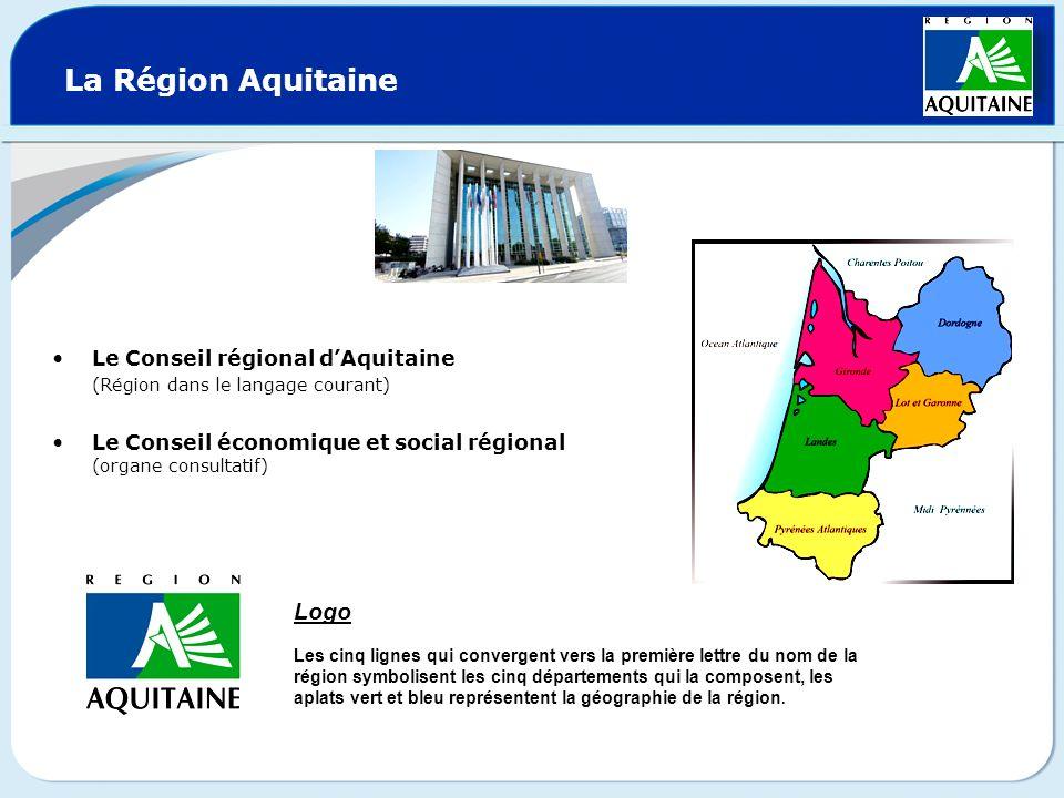 La Région Aquitaine Le Conseil régional dAquitaine (Région dans le langage courant) Le Conseil économique et social régional (organe consultatif) Logo