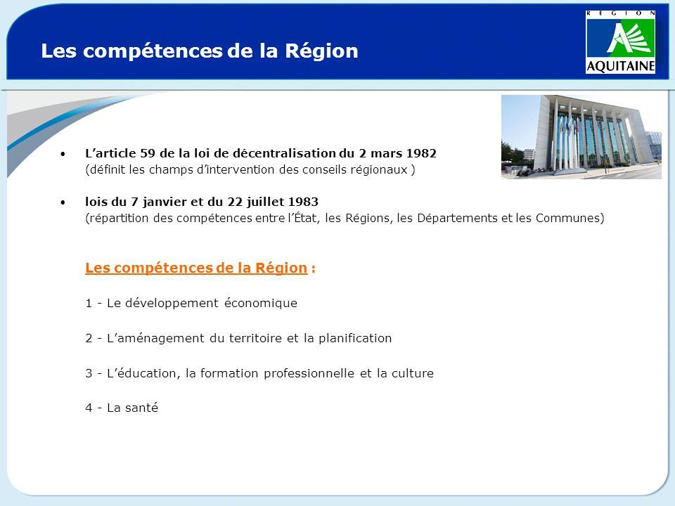Les compétences de la Région Larticle 59 de la loi de décentralisation du 2 mars 1982 (définit les champs dintervention des conseils régionaux ) lois