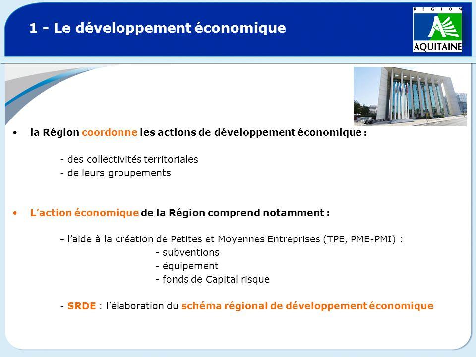 1 - Le développement économique la Région coordonne les actions de développement économique : - des collectivités territoriales - de leurs groupements