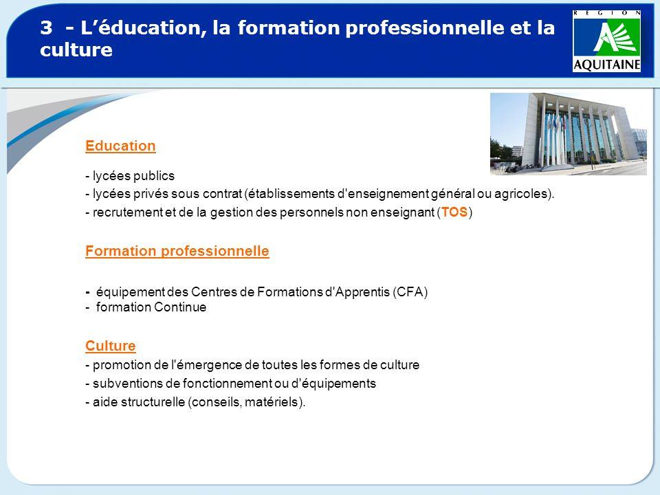 3 - Léducation, la formation professionnelle et la culture Education - lycées publics - lycées privés sous contrat (établissements d'enseignement géné