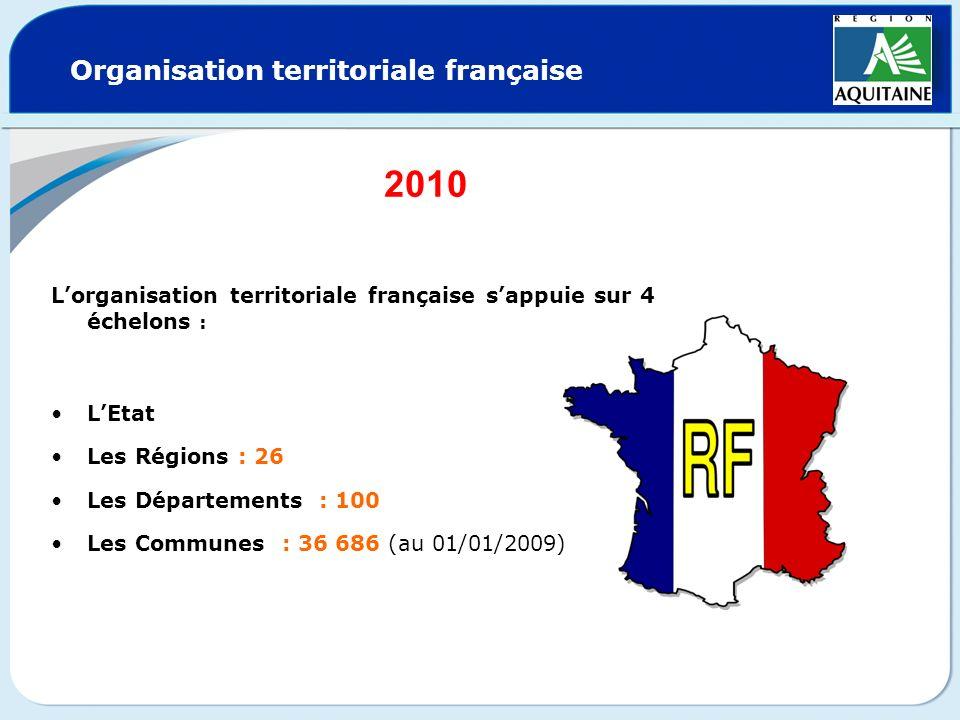 Organisation territoriale française Lorganisation territoriale française sappuie sur 4 échelons : LEtat Les Régions : 26 Les Départements : 100 Les Co