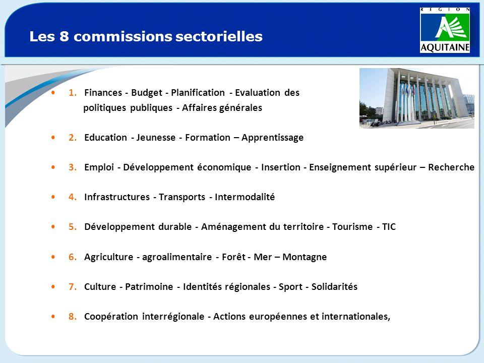 Les 8 commissions sectorielles 1. Finances - Budget - Planification - Evaluation des politiques publiques - Affaires générales 2. Education - Jeunesse