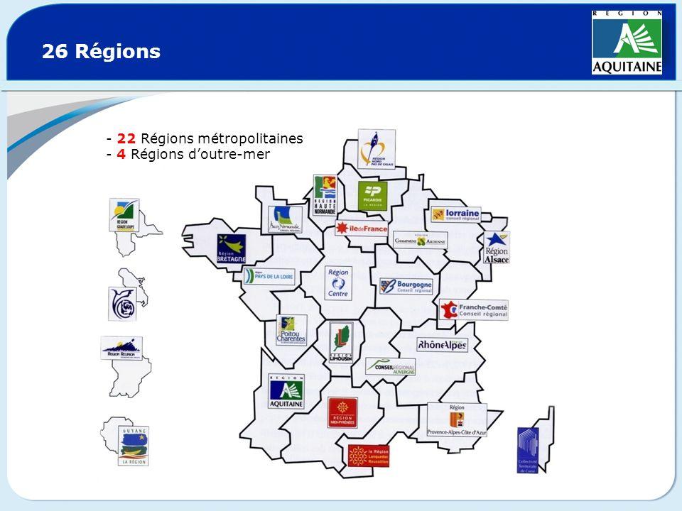 26 Régions - 22 Régions métropolitaines - 4 Régions doutre-mer