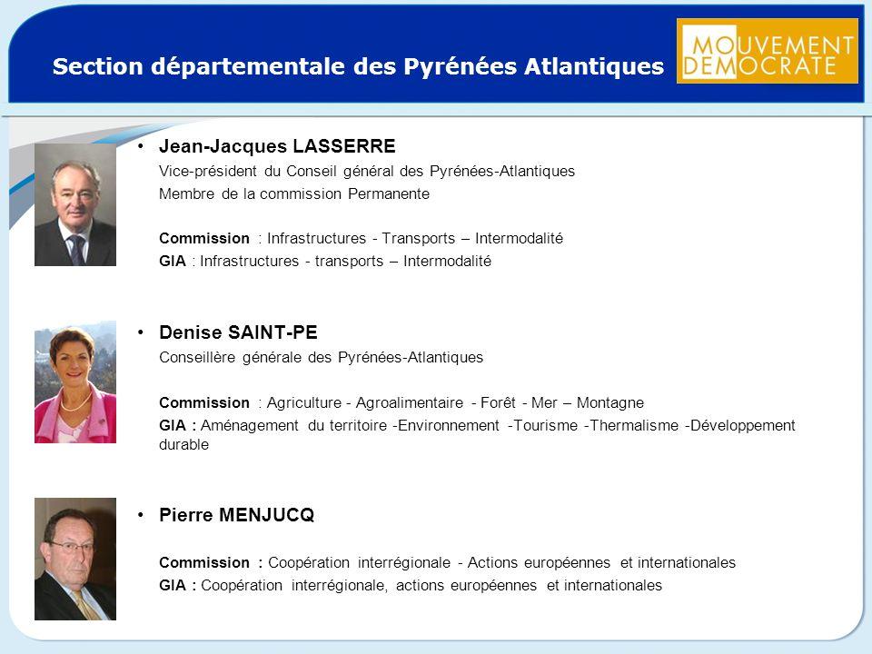 Section départementale des Pyrénées Atlantiques Jean-Jacques LASSERRE Vice-président du Conseil général des Pyrénées-Atlantiques Membre de la commissi