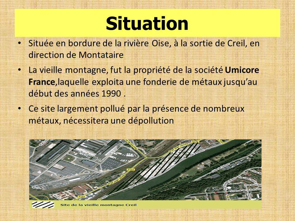 Situation Située en bordure de la rivière Oise, à la sortie de Creil, en direction de Montataire La vieille montagne, fut la propriété de la société U