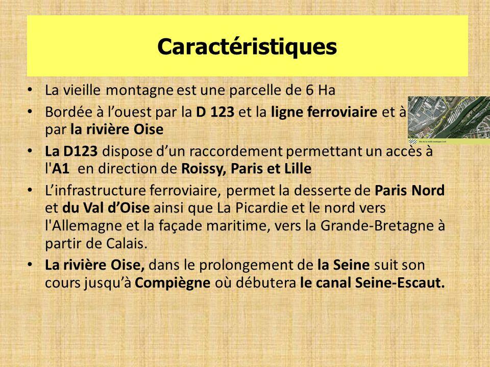 Caractéristiques La vieille montagne est une parcelle de 6 Ha Bordée à louest par la D 123 et la ligne ferroviaire et à lest par la rivière Oise La D1