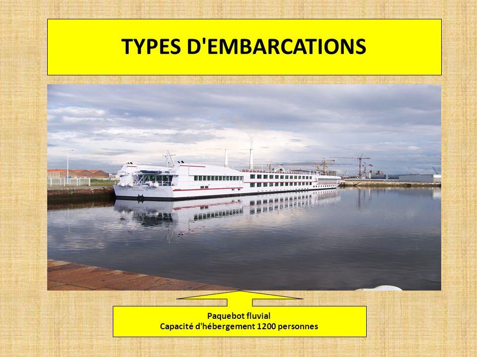 TYPES D'EMBARCATIONS Paquebot fluvial Capacité d'hébergement 1200 personnes